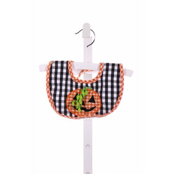 MUD PIE  BLACK  GINGHAM APPLIQUED BIB