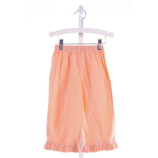 RAGSLAND  ORANGE SEERSUCKER GINGHAM  PANTS WITH RUFFLE