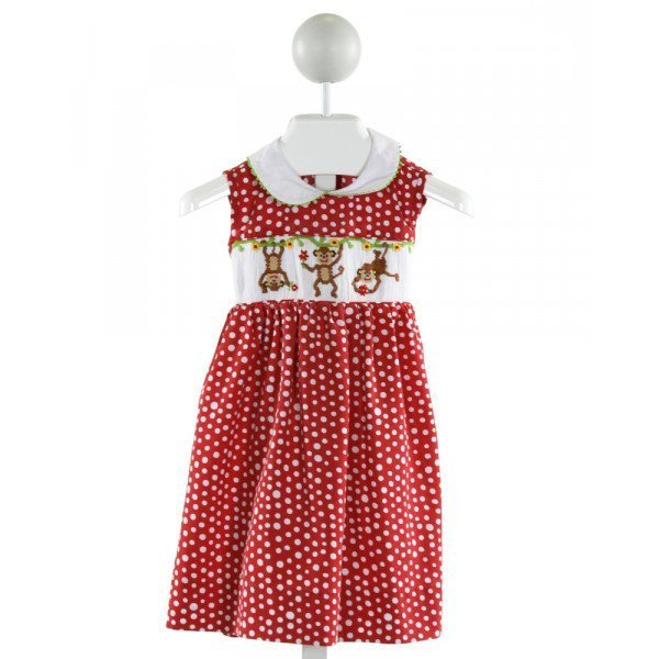 SILLY GOOSE  RED  POLKA DOT SMOCKED DRESS WITH RIC RAC