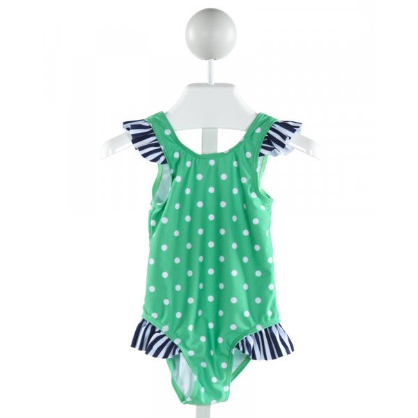MILLIE LOVES LILY  GREEN  POLKA DOT  1-PIECE SWIMSUIT WITH RUFFLE