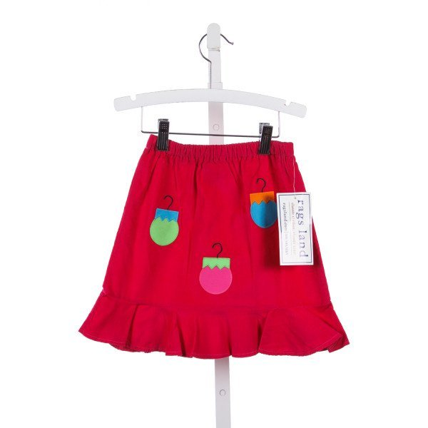 RAGSLAND HOT PINK CORD SKIRT WITH ORNAMENT APPLIQUE *SIZE 3/4