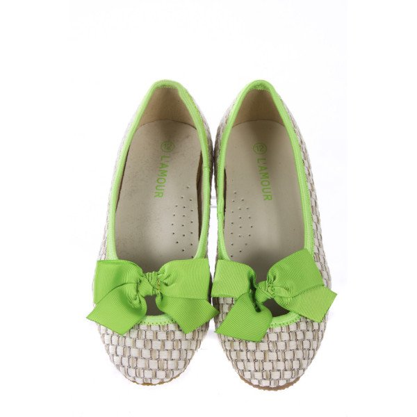 LAMOUR NATURAL FLATS WITH LIME GREEN BOW TODDLER SIZE 12