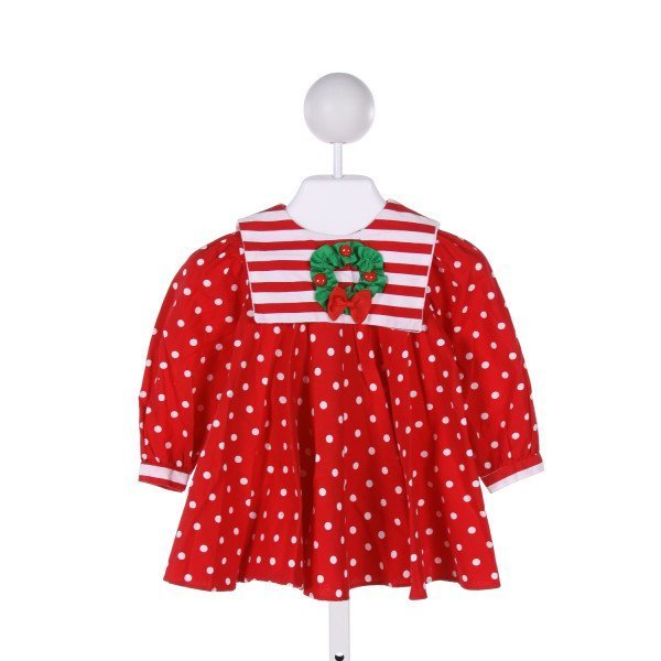PEACHES 'N CREAM  RED  POLKA DOT APPLIQUED DRESS