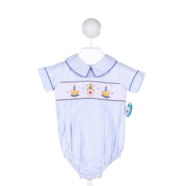 MANO  LT BLUE  GINGHAM SMOCKED BUBBLE