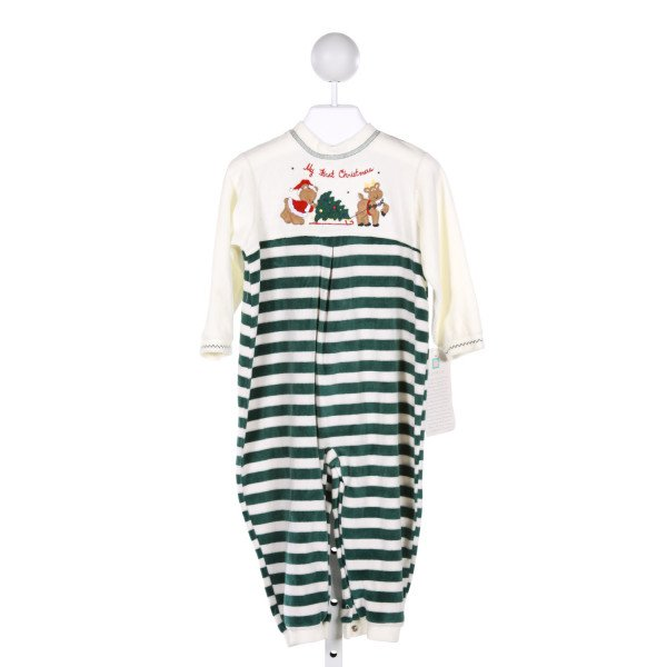 LITTLE ME  MULTI-COLOR  STRIPED EMBROIDERED ROMPER