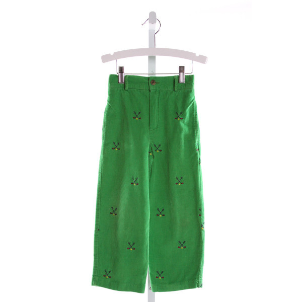 RAGSLAND  GREEN CORDUROY  EMBROIDERED PANTS