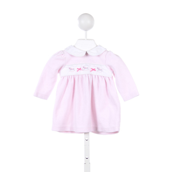 HARTSTRINGS PINK VELOUR DRESS WITH ROCKING HORSE EMBROIDERY *SIZE 3-6M *SLIGHT IMPERFECTION (LIGHT WASH WEAR)