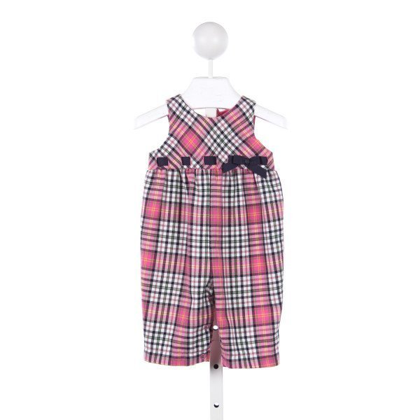 HARTSTRINGS PINK AND NAVY PLAID ROMPER WITH NAVY RIBBON BOW *SIZE 3-6M