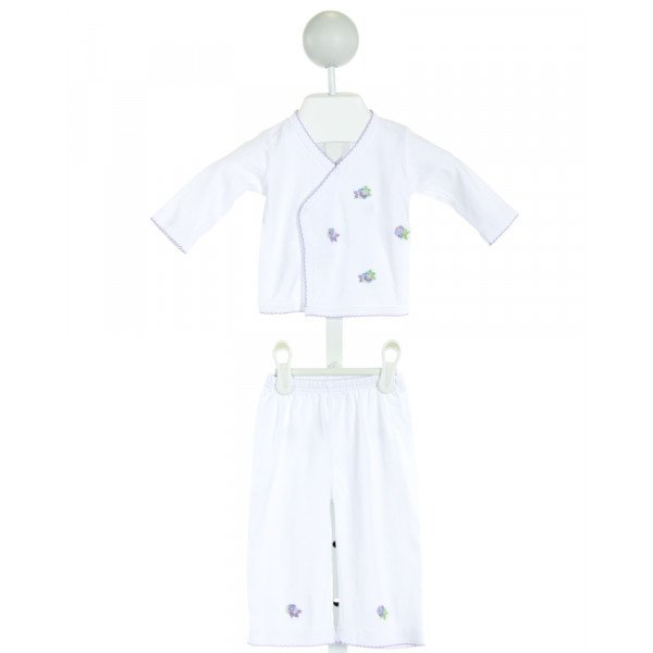 MARGERY ELLEN  WHITE   EMBROIDERED 2-PIECE OUTFIT WITH PICOT STITCHING