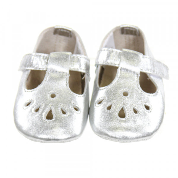 ANGEL BABY SILVER LEATHER BABY SHOES *SIZE INFANT 2, EUC