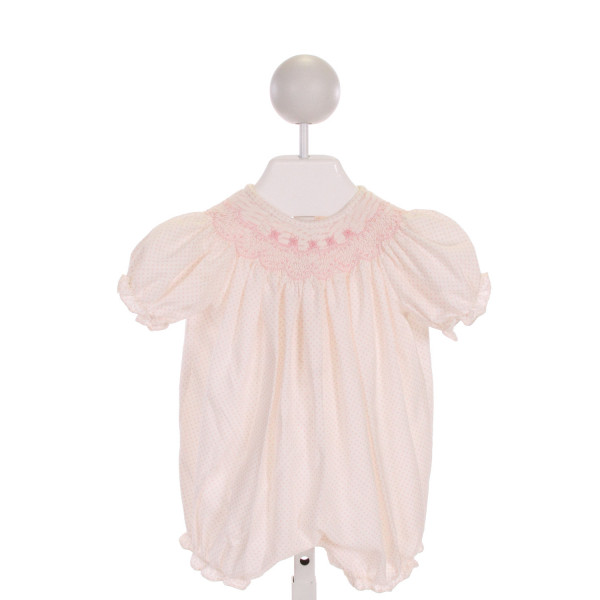 LULI & ME  PINK  POLKA DOT SMOCKED ROMPER WITH RUFFLE
