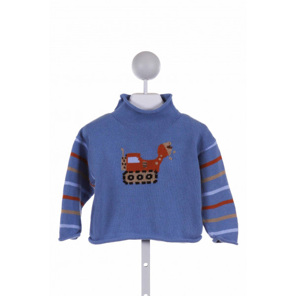 CLAVER  BLUE   EMBROIDERED SWEATER