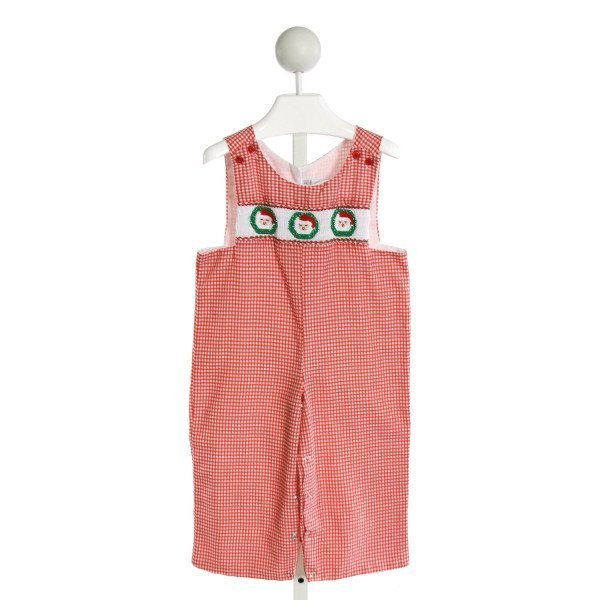 WINDMILL KIDS  RED  GINGHAM SMOCKED LONGALL/ROMPER