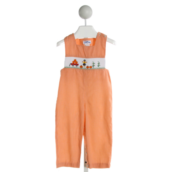 SILLY GOOSE  ORANGE  GINGHAM SMOCKED LONGALL/ROMPER