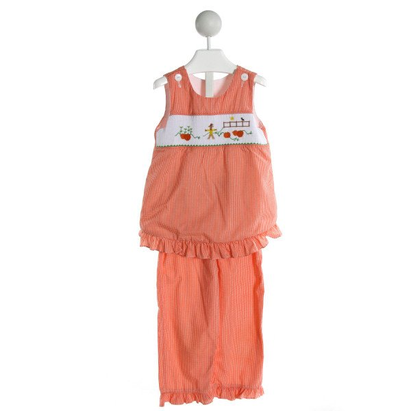 WISH UPON A STAR  ORANGE  GINGHAM SMOCKED 2-PIECE OUTFIT WITH RUFFLE