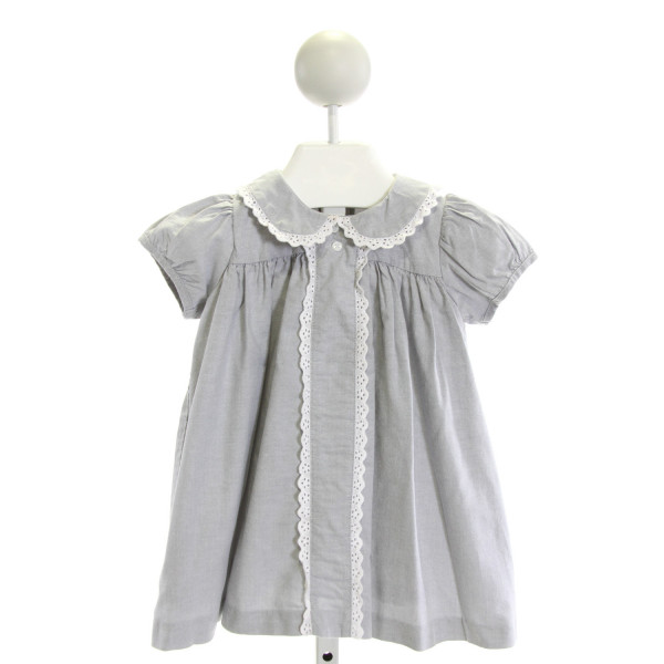 DONDOLO  GRAY    DRESS WITH EYELET TRIM