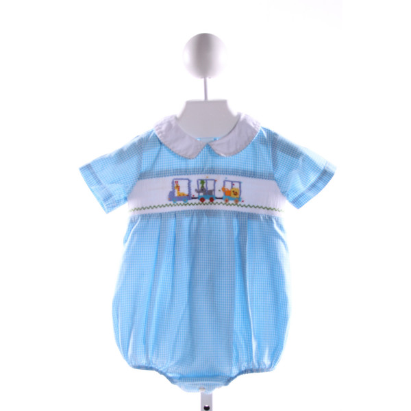 SILLY GOOSE  AQUA  GINGHAM SMOCKED BUBBLE