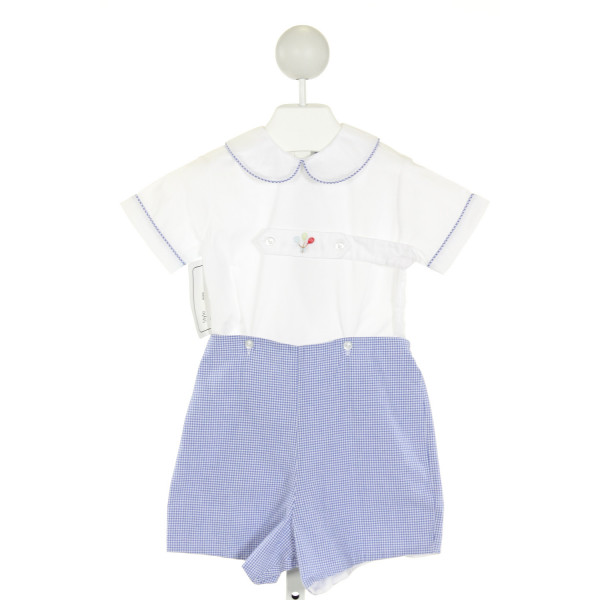 CRESCENT MOON CHILDREN  OFF-WHITE  GINGHAM EMBROIDERED JOHN JOHN/ SHORTALL