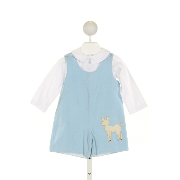 DONDOLO  LT BLUE CORDUROY  EMBROIDERED JOHN JOHN/ SHORTALL