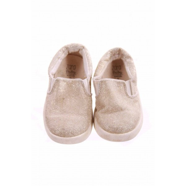 ZARA GOLD SPARLKE SLIP-ON SHOE *SIZE 5.5 *VGU