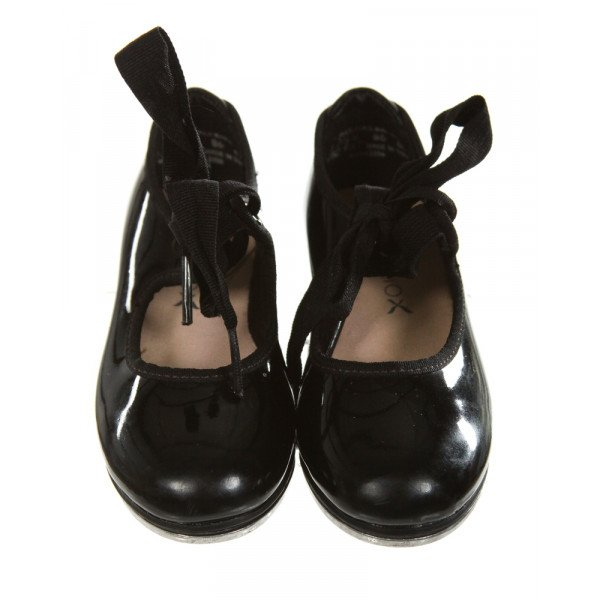 CAPEZIO BLACK SHINY TAP SHOES *SIZE TODDLER 8.5, GUC - SCUFFING HAND DISCOLORATION