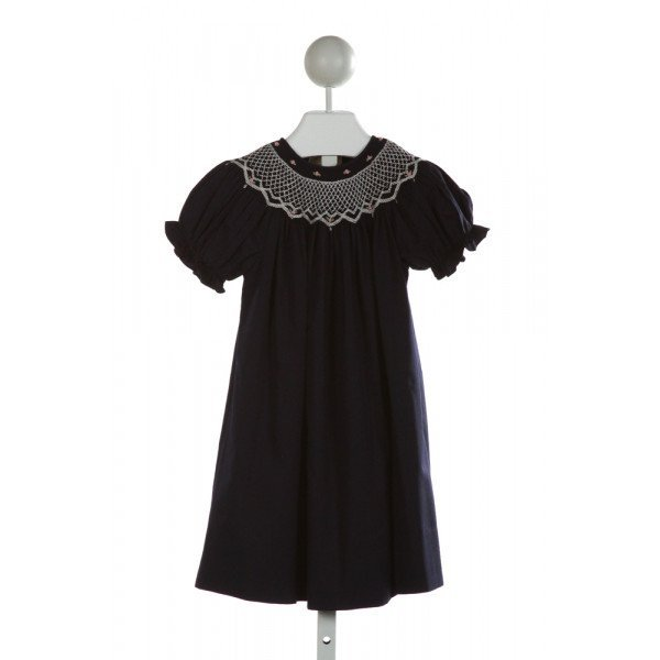 ROSALINA  NAVY CORDUROY  SMOCKED DRESS WITH RUFFLE