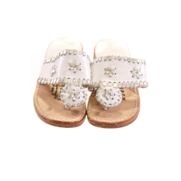 PALM BEACH WHITE AND KHAKI SANDALS *NO SIZE TAG BUT AN APPROX 10, VGU - MINOR DISCOLORATION AND WEAR