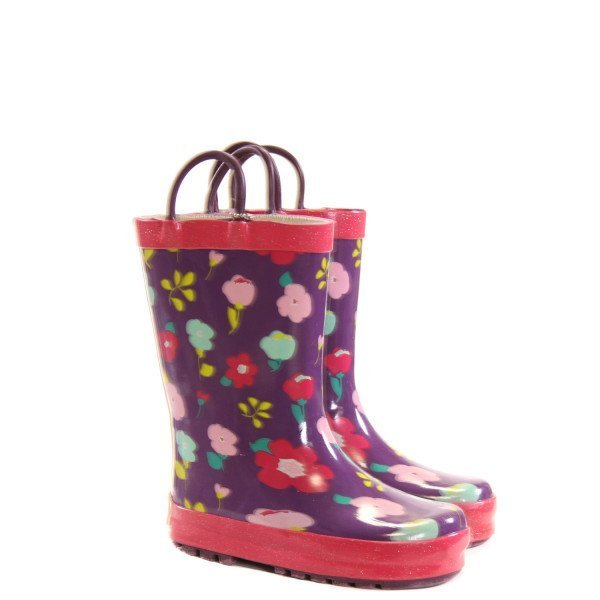 WESTERN CHIEF PURPLE RAINBOOTS WITH FLOWERS *SIZE 8, VGU - VERY MINOR SCUFFING