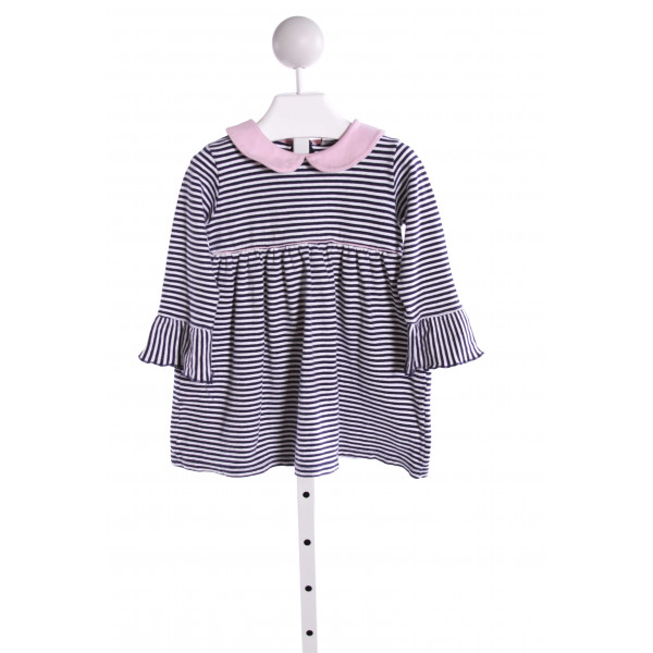 LUIGI  MULTI-COLOR  STRIPED  KNIT TOP WITH RUFFLE