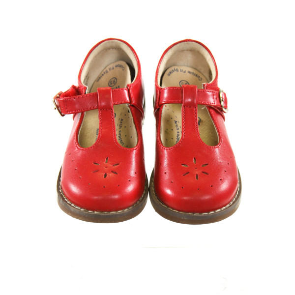 FOOTMATES RED LEATHER SHOES WITH WIDE SOLES *SIZE TODDLER 9.5, EUC