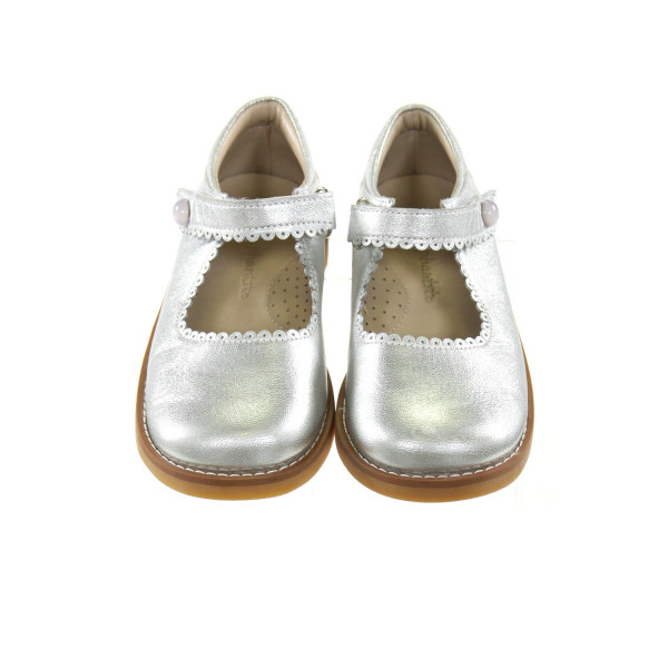 ELEPHANTITO SILVER SHOES WITH SCALLOPING *SIZE TODDLER 9, VGU - LIGHT SCUFFING