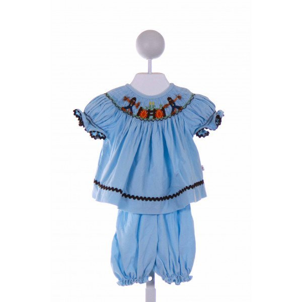LOLLY WOLLY DOODLE  LT BLUE CORDUROY  SMOCKED 2-PIECE OUTFIT