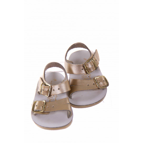 SUN SANS/ SALTWATER SANDALS GOLD SEA WEES *SIZE 0 *EUC