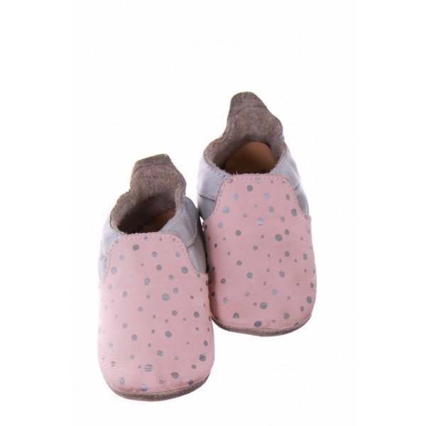 BOBUX PINK AND GREY POLKADOT SOFT-SOLE MOCCASINS *SIZE 2 (SIZE SMALL 3-9MO.) *NWT
