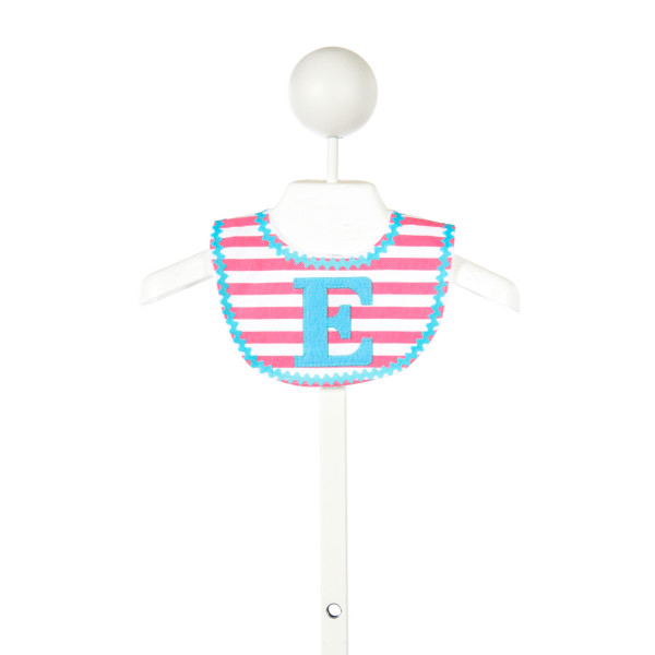 "MUD PIE PINK AND WHITE STRIPED BIB WITH ""E"" MONOGRAM"