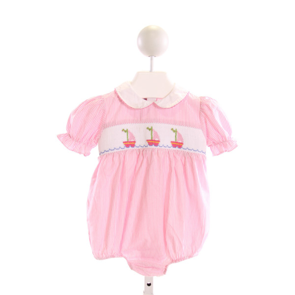 SILLY GOOSE  PINK  STRIPED SMOCKED BUBBLE WITH RUFFLE