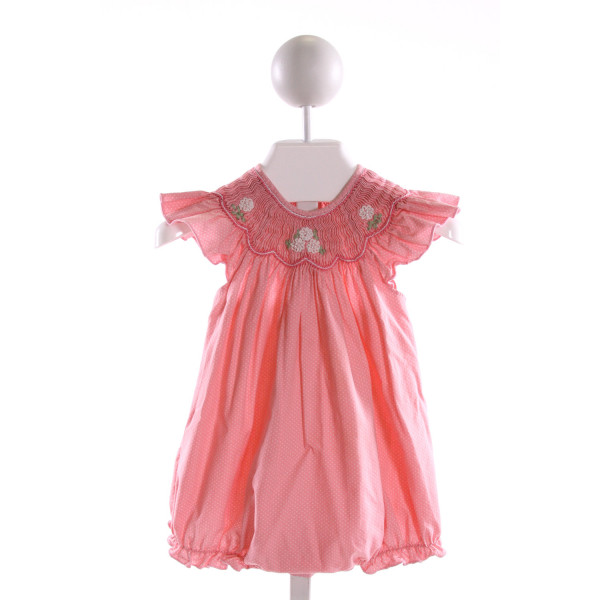 FANTAISIE KIDS  PINK  POLKA DOT SMOCKED BUBBLE WITH RUFFLE
