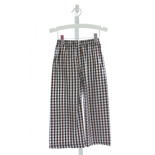 BAREFOOT   BROWN  GINGHAM  PANTS