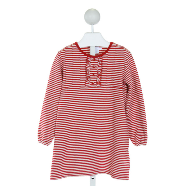 LITTLE ENGLISH  RED  STRIPED  KNIT DRESS WITH RUFFLE