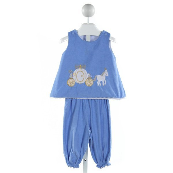 GLORIMONT  LT BLUE CORDUROY  EMBROIDERED 2-PIECE OUTFIT WITH RUFFLE