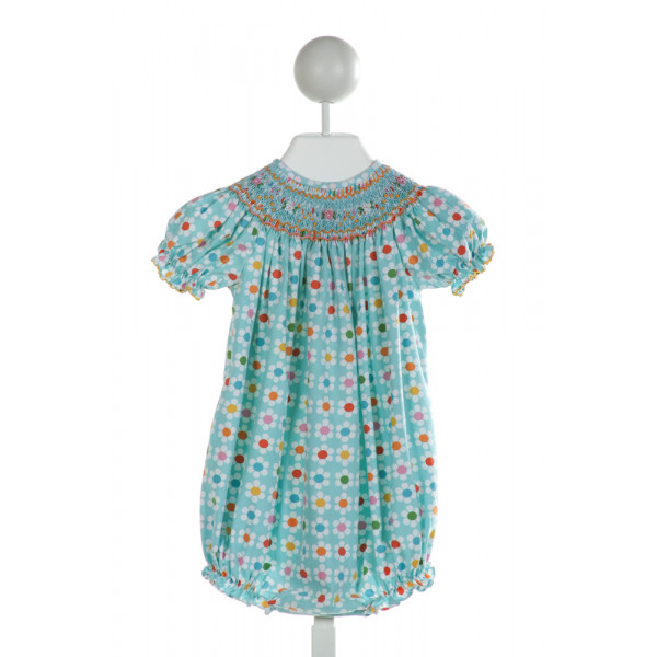 THIS AND THAT FOR KIDS  AQUA  FLORAL SMOCKED BUBBLE WITH RUFFLE