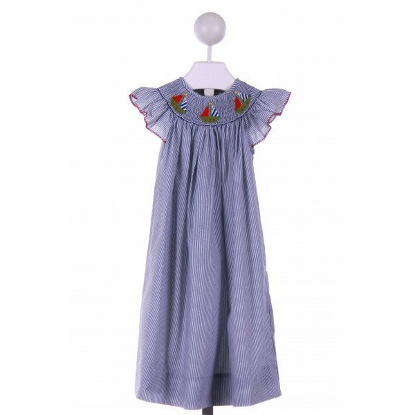 CANDYLAND  NAVY  STRIPED SMOCKED CASUAL DRESS