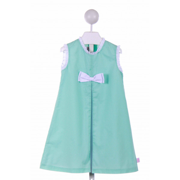 POSH PICKLE  MINT  POLKA DOT  CASUAL DRESS WITH EYELET TRIM