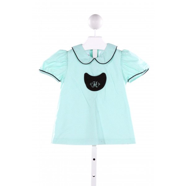 POSH PICKLE  MINT  POLKA DOT EMBROIDERED CLOTH SS SHIRT
