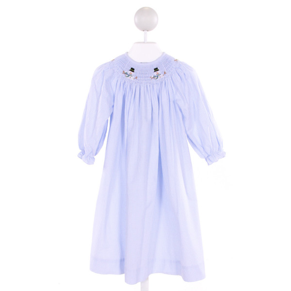 COLLECTION BEBE  LT BLUE  GINGHAM SMOCKED DRESS WITH RUFFLE