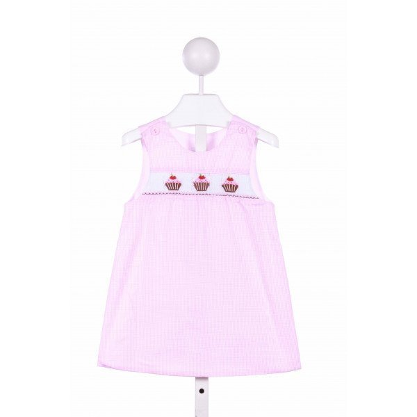 BOW PEEP  PINK  GINGHAM SMOCKED CASUAL DRESS