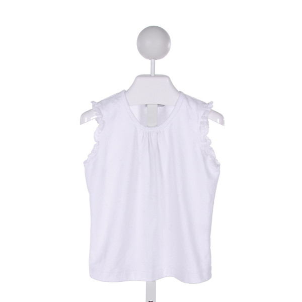 SMOCKINGBIRD  WHITE    KNIT SS SHIRT WITH RUFFLE