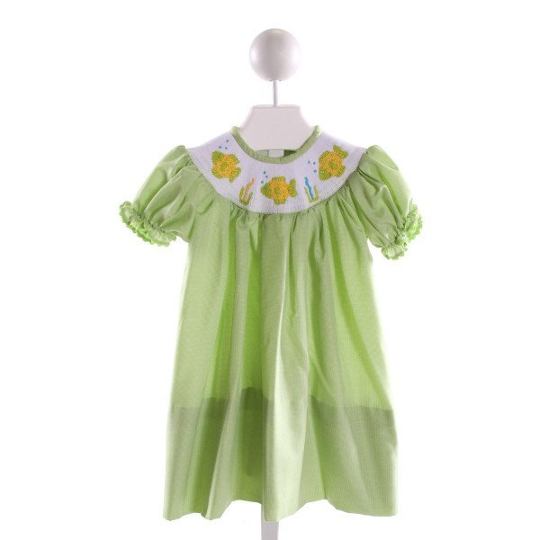CASTLES & CROWNS  LT GREEN  MICROCHECK SMOCKED DRESS WITH RUFFLE