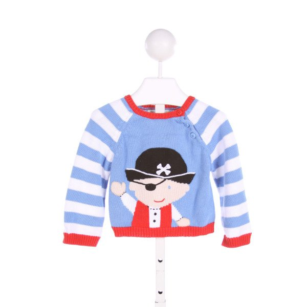 ZUBELS  BLUE  STRIPED EMBROIDERED SWEATER