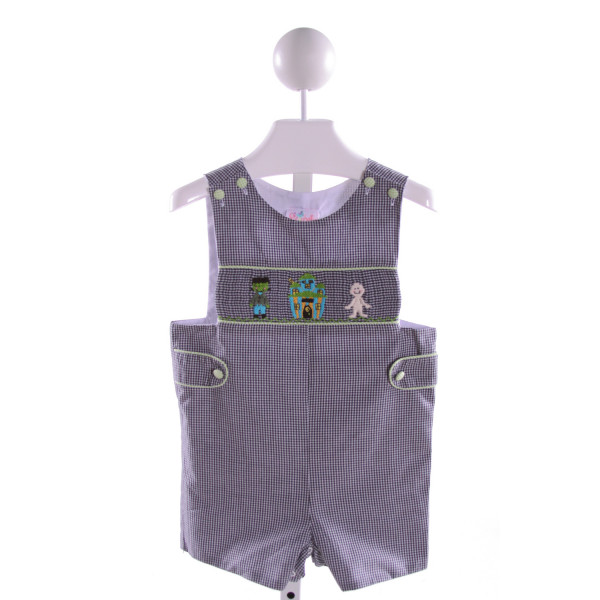 STELLYBELLY  NAVY  GINGHAM SMOCKED JOHN JOHN/ SHORTALL